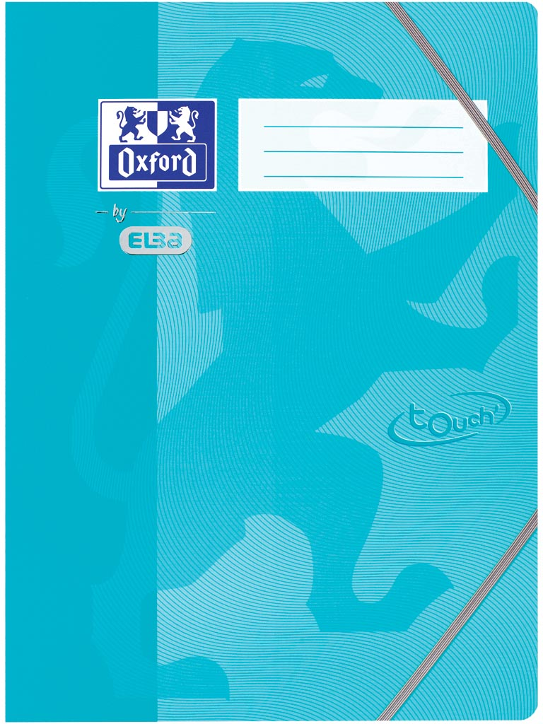 Oxford Touch elastomap uit karton, ft A4, aqua