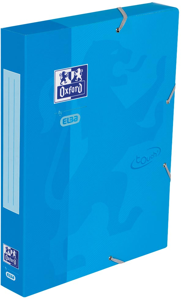 Oxford Touch elastobox uit karton, rug van 4 cm, met rugetiket, blauw