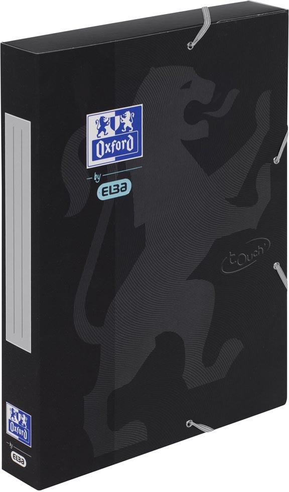 Oxford Touch elastobox uit karton, rug van 4 cm, met rugetiket, zwart