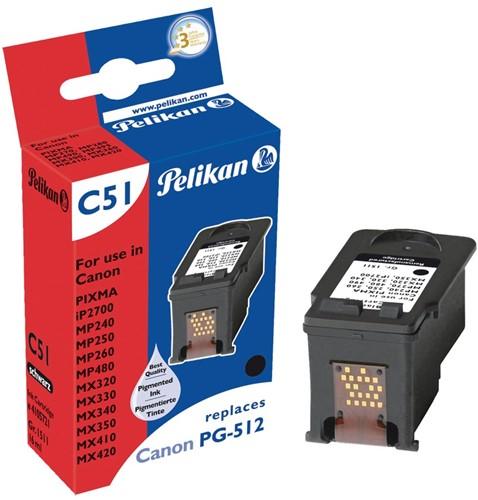 Pelikan inktcartridge zwart, 401 pagina's voor Canon PG-512 - OEM: 2969B001