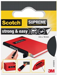 Scotch Supreme reparatietape Strong & Easy, ft 19 mm x 3 m, zwart, blisterverpakking