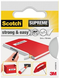 Scotch Supreme reparatietape Strong & Easy, ft 19 mm x 3 m, wit, blisterverpakking