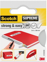 Scotch Supreme reparatietape Strong & Easy, ft 38 mm x 3 m, wit, blisterverpakking
