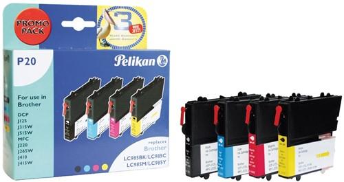 Pelikan inktcartridge 4 kleuren, 260 pagina's voor Brother - OEM: LC985VALBP