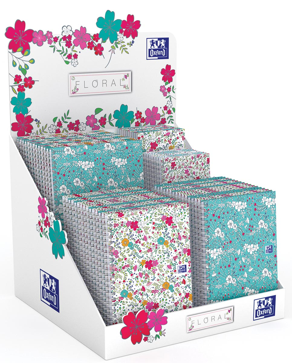 Oxford Floral notitieblok en spiraalschrift, ft A5/A6/B5, geruit 5 mm, display met 60 stuks