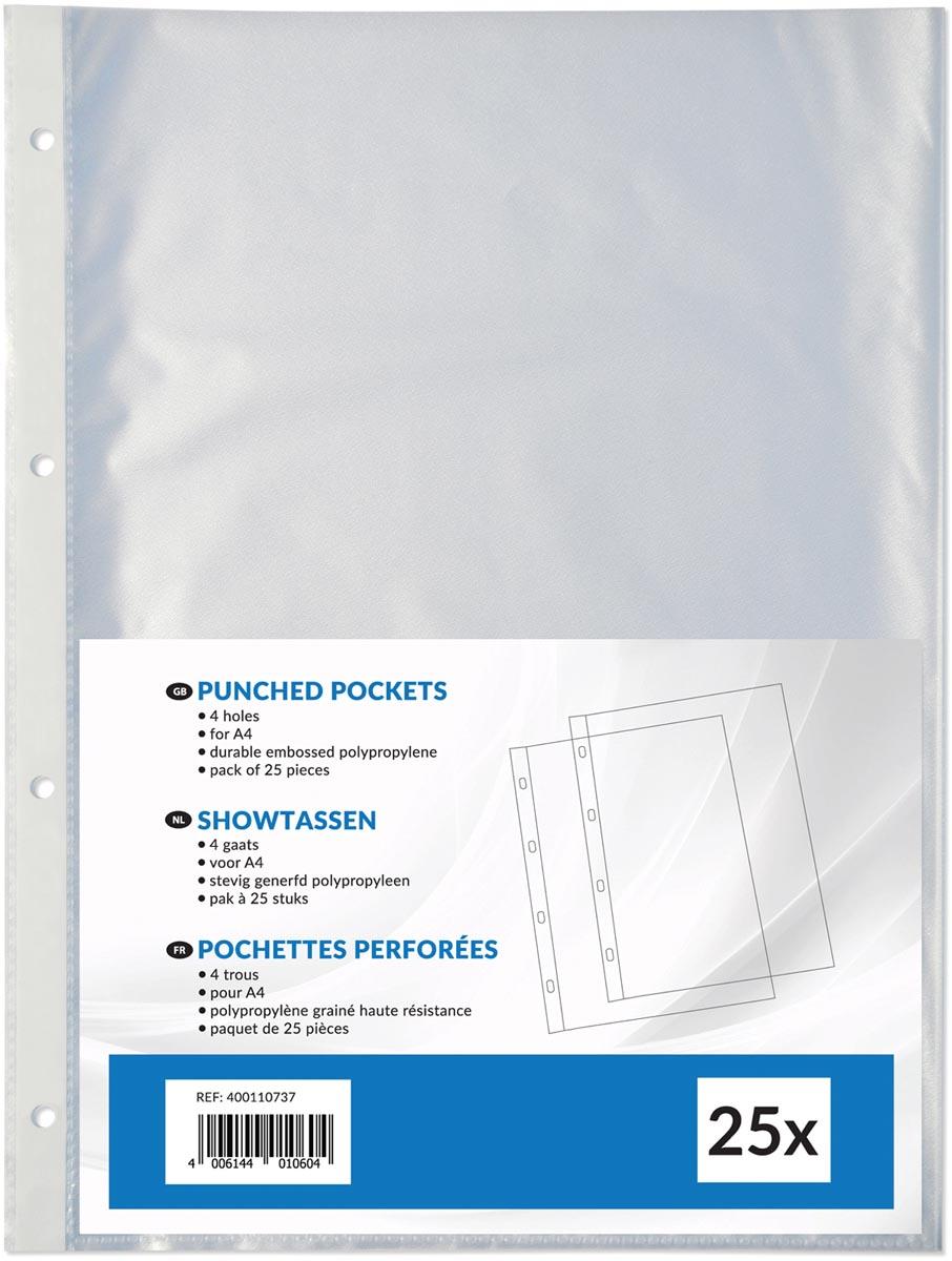 Showtas ft A4, 4-gaatsperforatie, uit PP 80 g/m², pak van 25 stuks