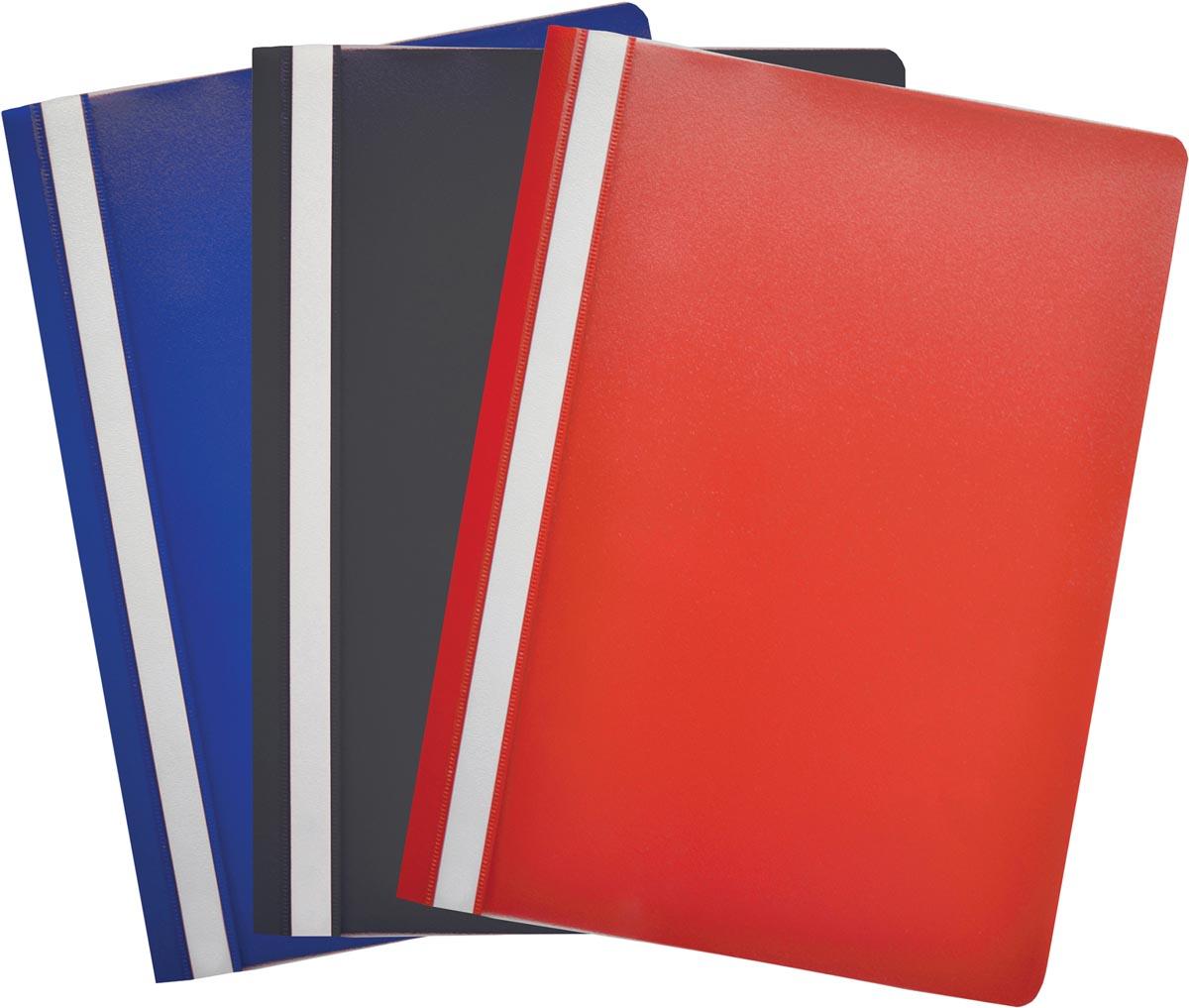 Snelhechtmap ft A4, pak van 6 stuks in geassorteerde kleuren