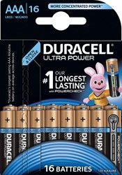 Duracell batterijen Ultra Power AAA, blister van 16 stuks