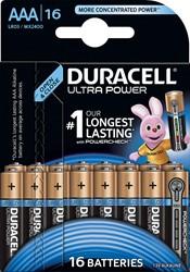 Duracell batterijen Ultra Power AAA, blister van 16 stuks