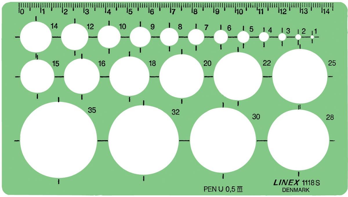 Linex cirkelsjabloon 1 - 35 mm, met 22 cirkels en uitlijnmarkering