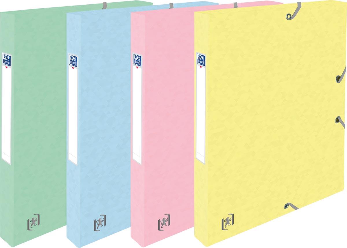 Oxford Top File+ elastobox, rug van 2,5 cm, geassorteerde pastelkleuren, pak van 4 stuks