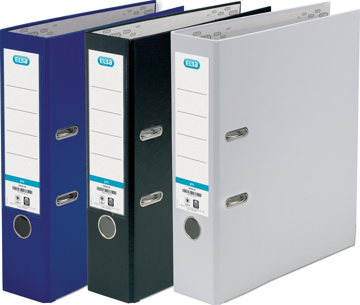 Elba ordner Smart Pro+, rug van 8 cm, pak van 3 stuks, geassorteerde kleuren: blauw, zwart en wit