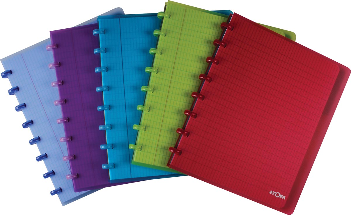 Atoma schrift ft A5+, commercieel geruit, met 6 tabbladen, in geassorteerde kleuren