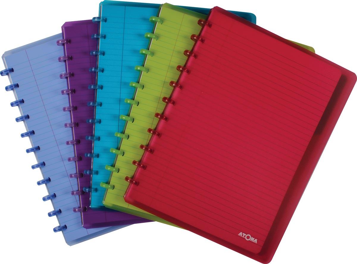 Atoma schrift ft A4 +, gelijnd, met 6 tabbladen en 5 showtassen, in geassorteerde kleuren