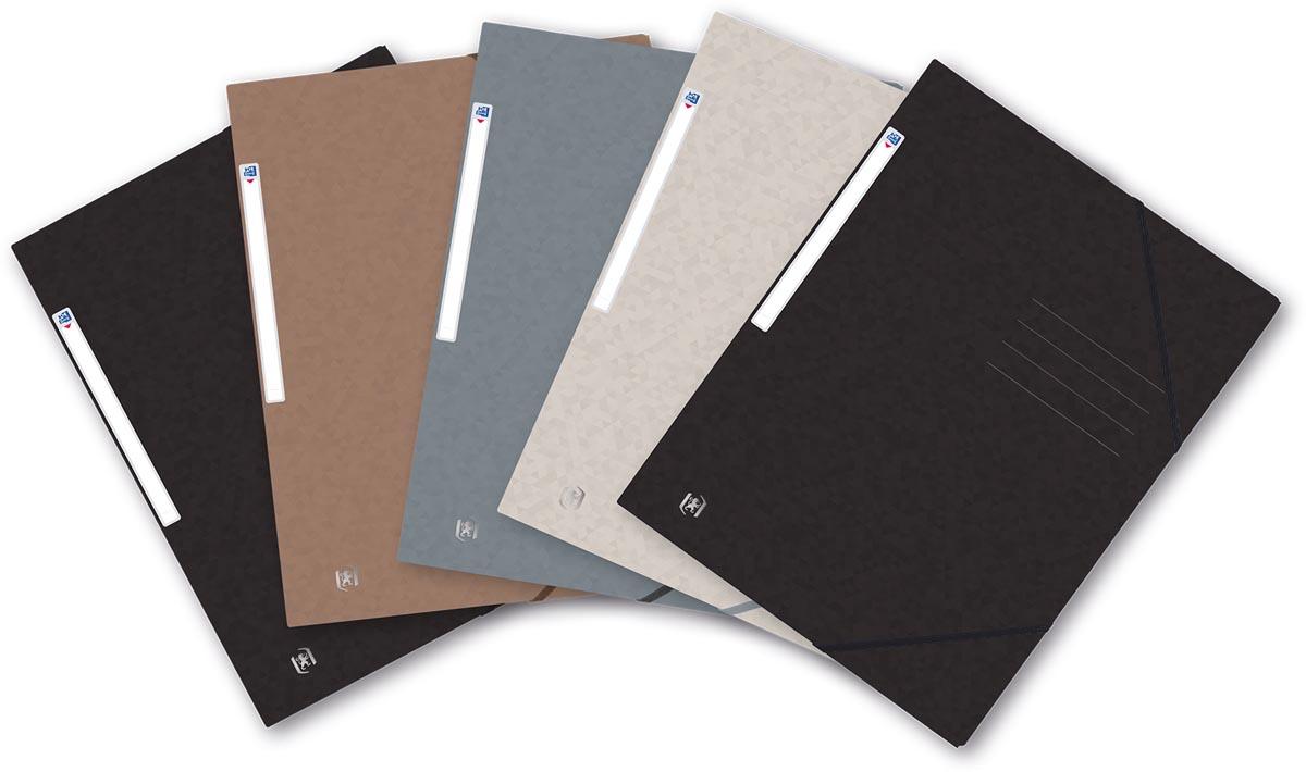 Oxford Top File+ elastomap, voor ft A4, geassorteerde kleuren, Nature series, pak van 5 stuks