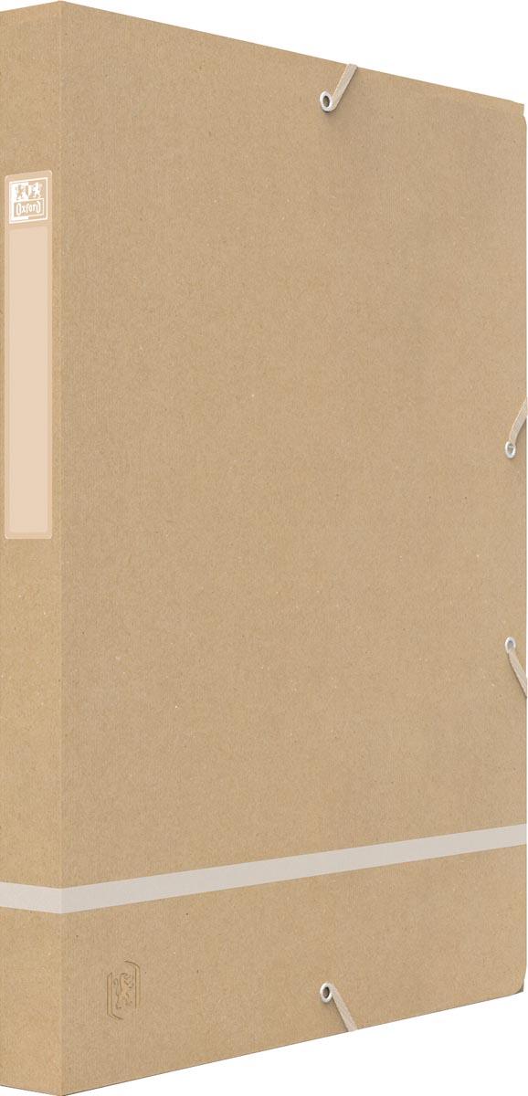 Oxford elastobox Touareg, ft A4, uit karton, rug van 2,5 cm, naturel en wit