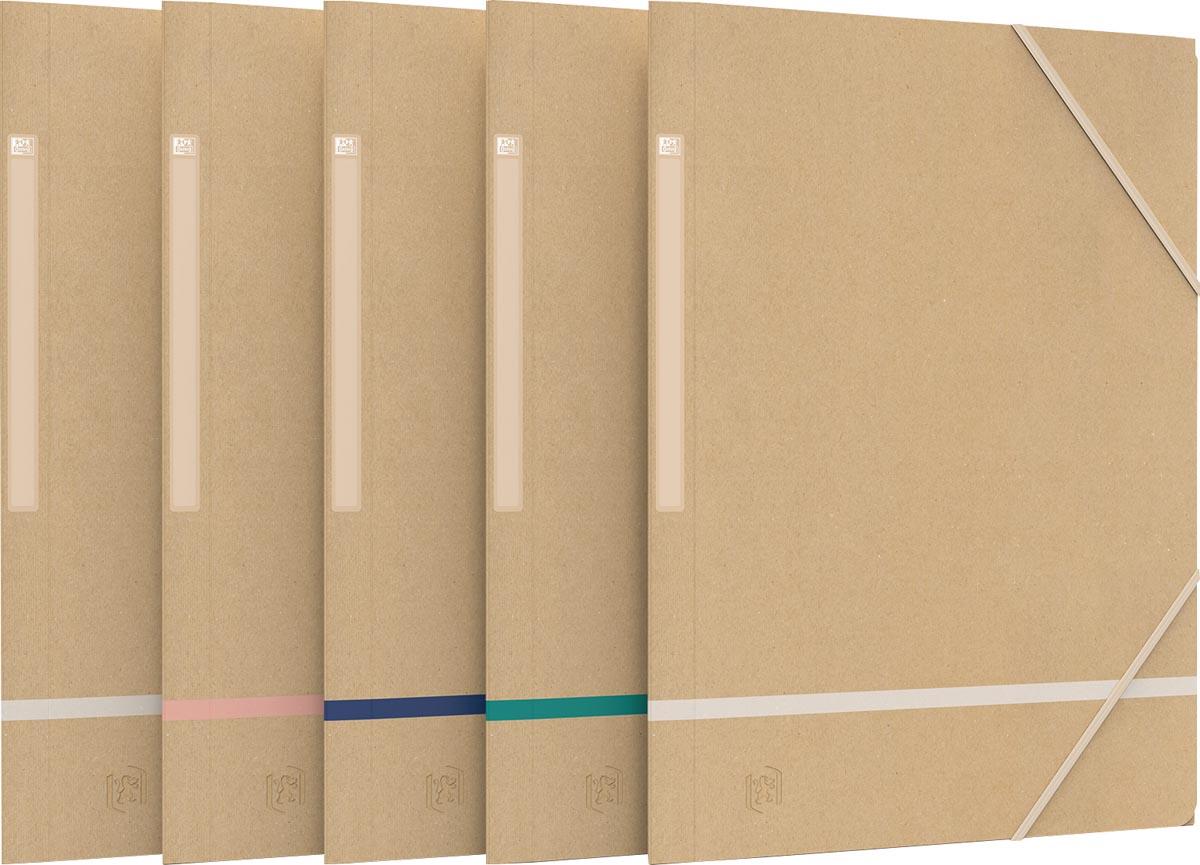Oxford elastomap Touareg, ft A4, uit karton, naturel en geassorteerde kleuren, pak van 5 stuks