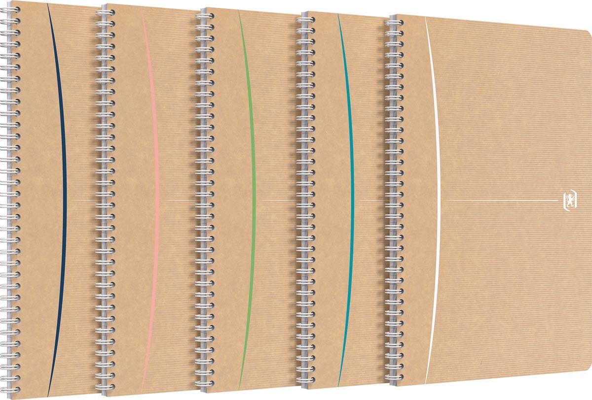 Oxford Touareg spiraalschrift, 180 bladzijden, ft A4, geruit 5 mm, geassorteerde kleuren