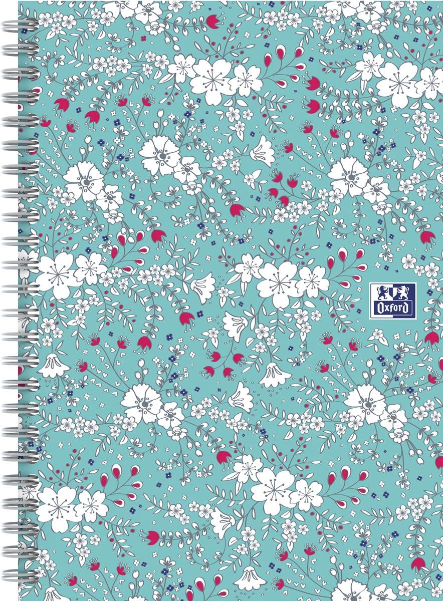 Oxford Floral hardcover spiraalschrift, ft B5, 60 vel, gelijnd, turkoois