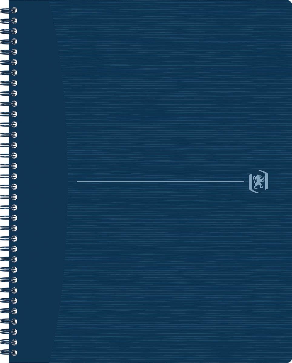 Oxford Origin spiraalschrift, ft A4+, 140 bladzijden, geruit 5 mm, blauw
