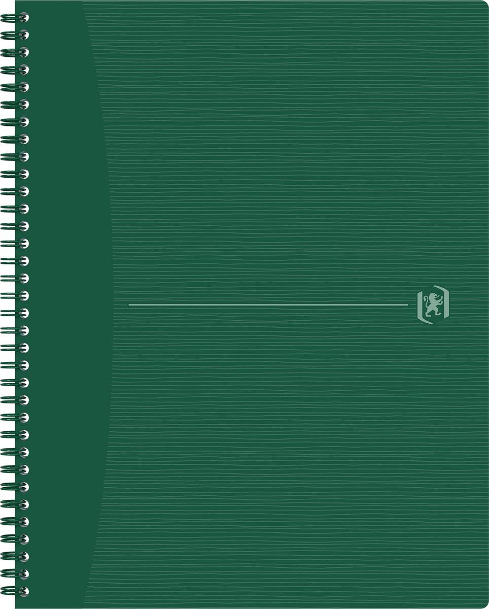 Oxford Origin spiraalschrift, ft A4+, 140 bladzijden, geruit 5 mm, groen
