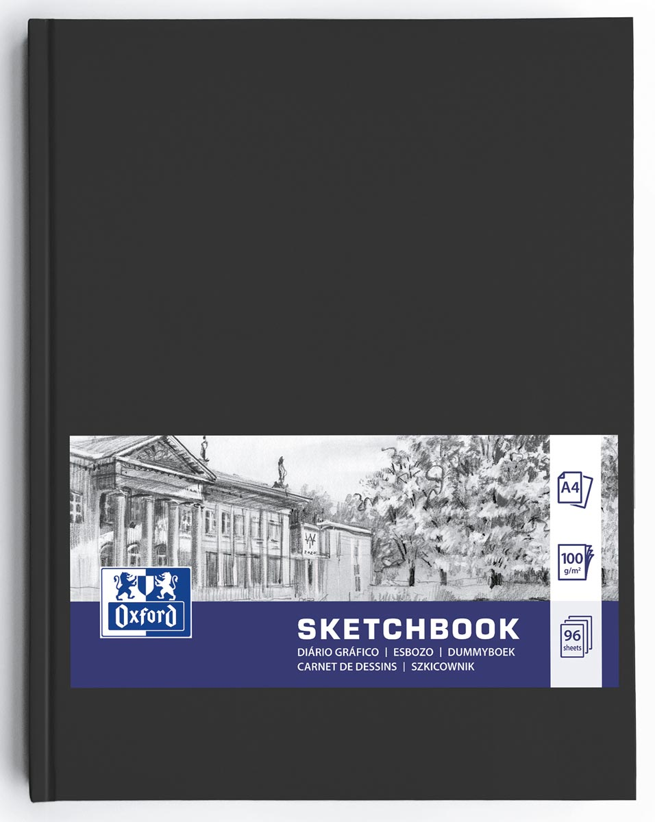 """Oxford """"Sketchbook"""" dummyboek, 96 vel, 100 g/m², ft A4, zwart"""