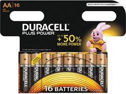 Duracell batterijen Plus Power AA, blister van 16 stuks
