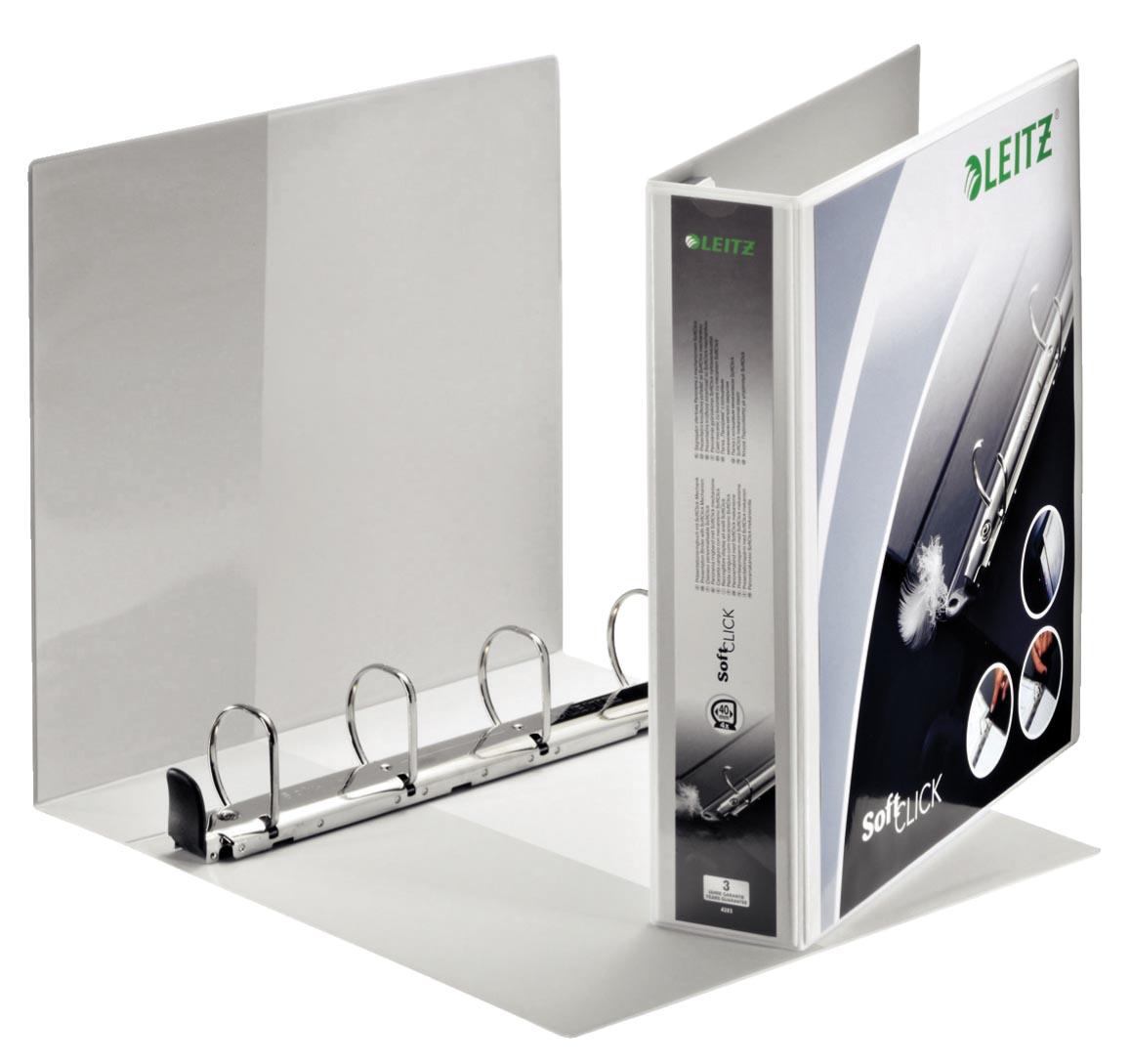Leitz SoftClick, ft A4 Maxi, 4D-ringen 40 mm, wit