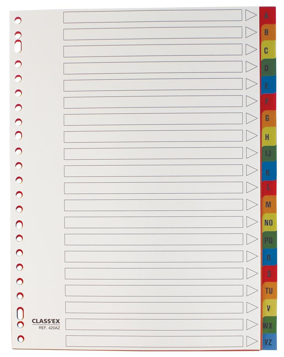 Class'ex tabbladen  A-Z, ft A4, 23-gaatsperforatie, PP, gekleurde tabs