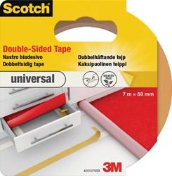 Scotch dubbelzijdige plakband voor tapijt en vinyl Universal, ft 50 mm x 7 m, blisterverpakking