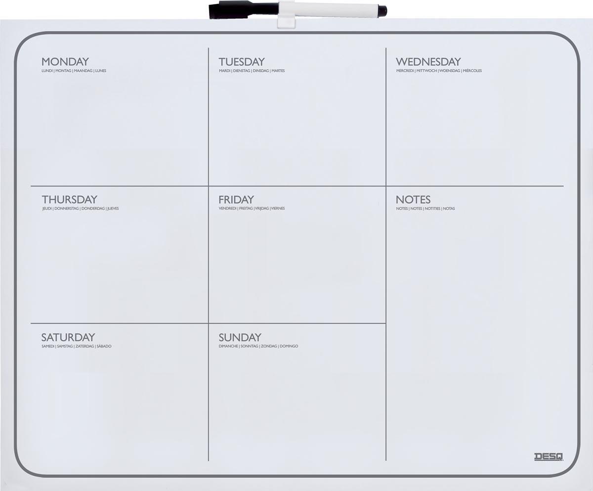 Desq magnetische weekplanner ft 40 x 50 cm