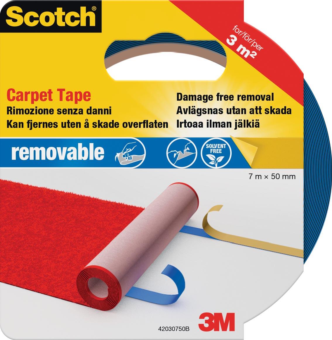 Scotch verwijderbare tapijttape, ft 50 mm x 7 m, op blister