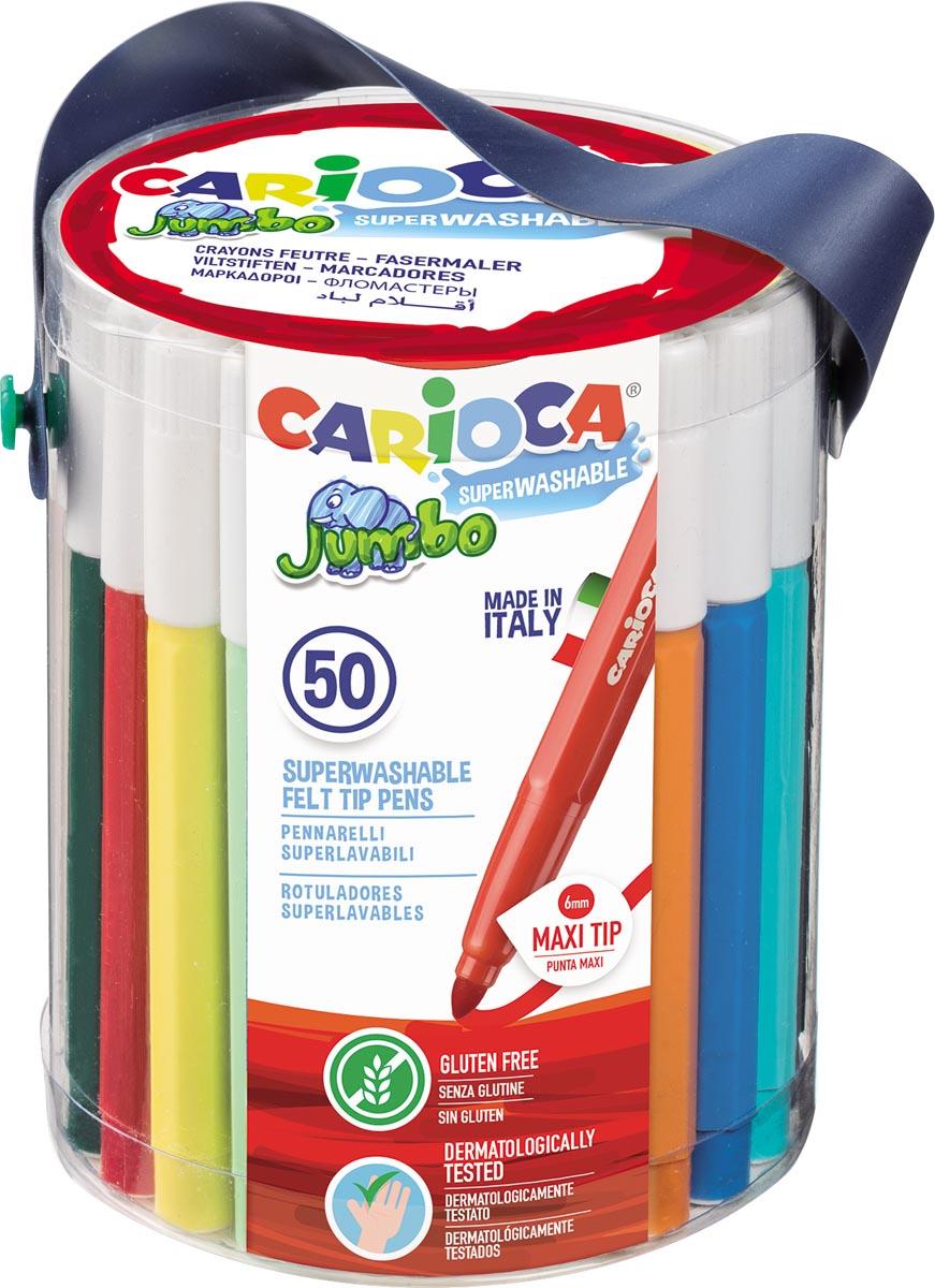 Carioca viltstift Jumbo, 50 stiften in een plastic pot