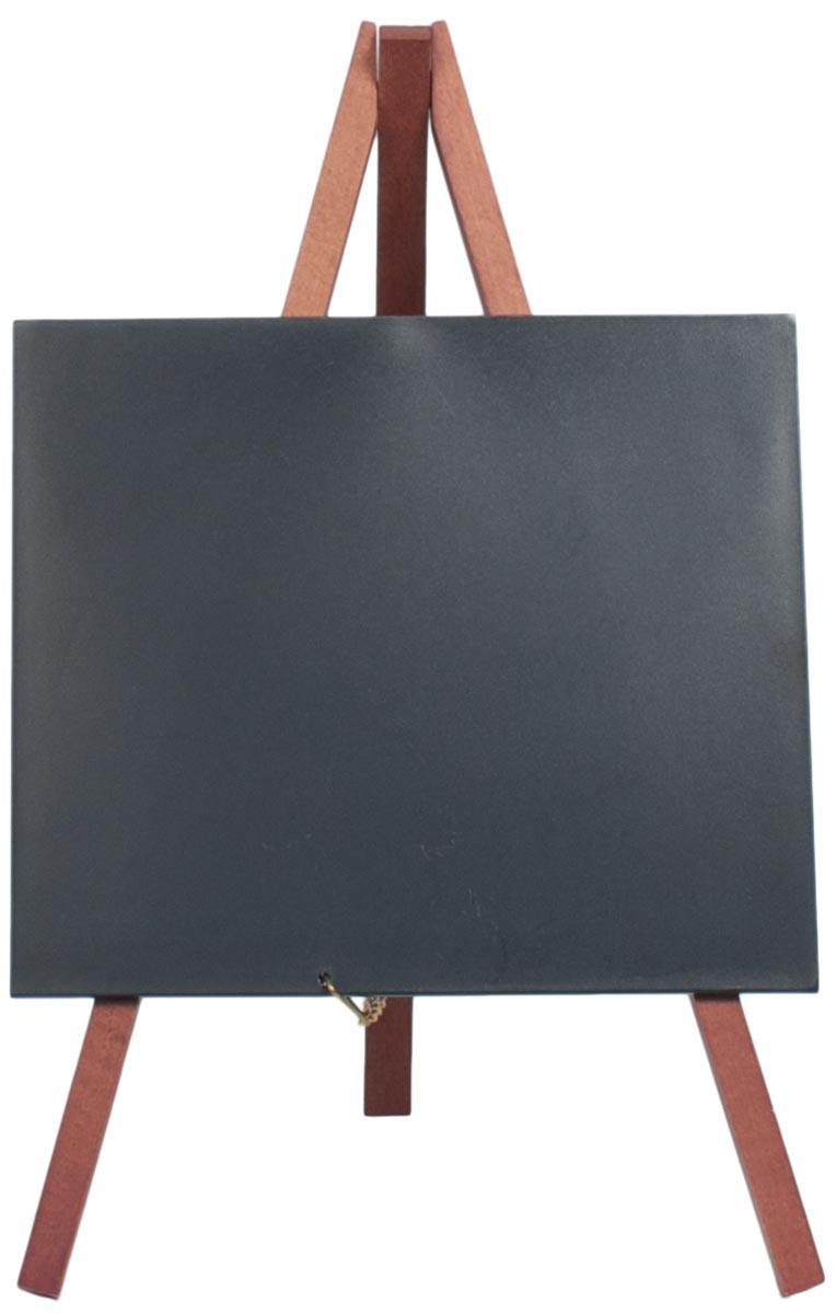 Securit mini tafelkrijtbord met driepoot in mahonie