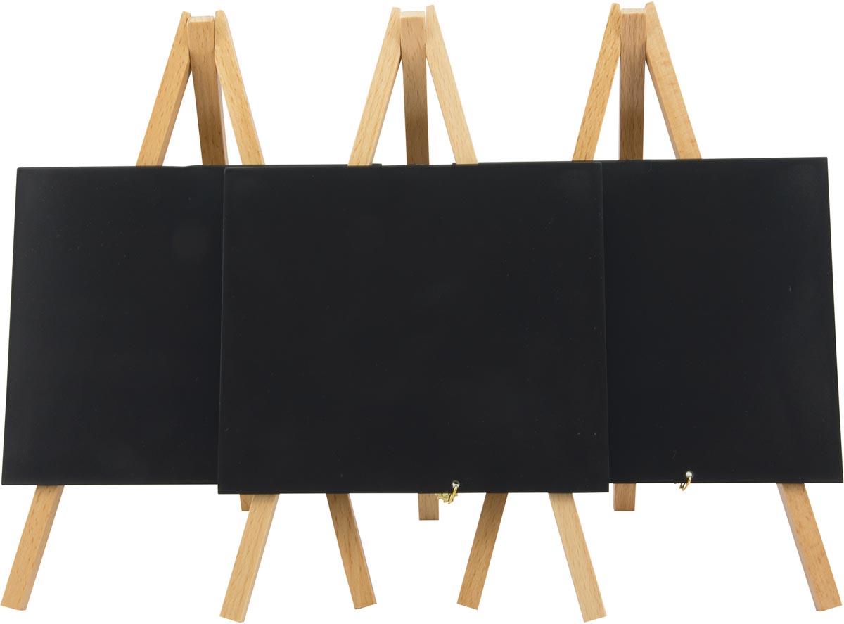 Securit tafelkrijtbord Mini, ft 24 x 15 cm, beuk, pak van 3