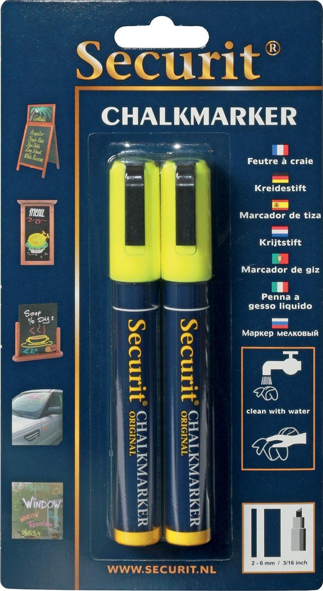 Securit krijtmarker medium, blister met 2 stuks, geel
