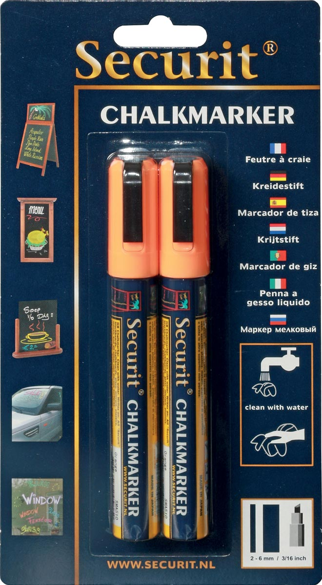 Securit krijtmarker medium, blister met 2 stuks, oranje