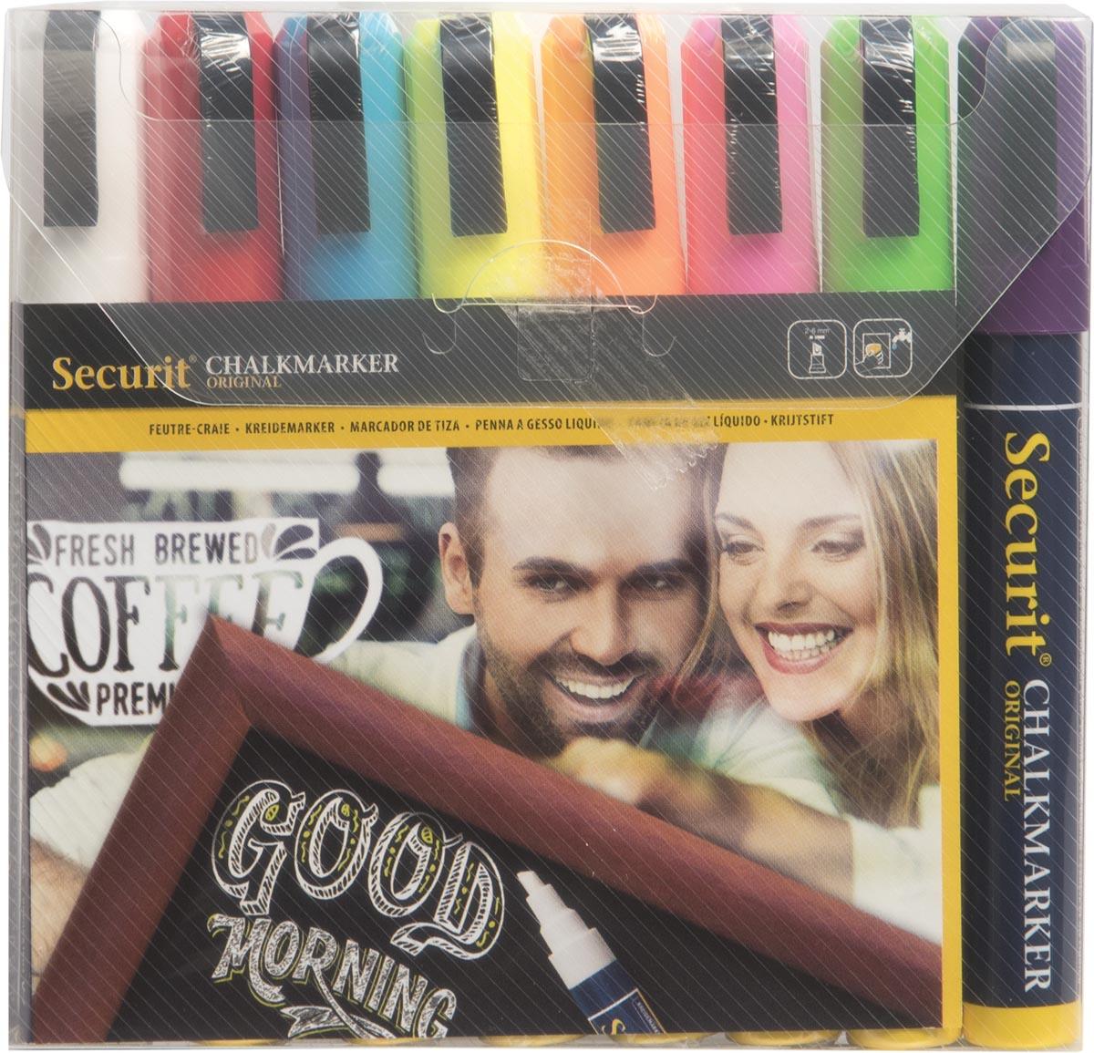Securit krijtmarker medium, etui van 8 stuks in geassorteerde kleuren