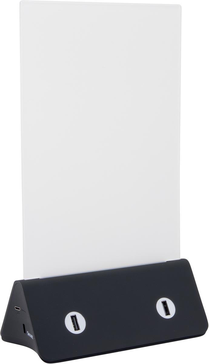 Securit folderhouder met geïntegreerde powerbank en USB-kabel
