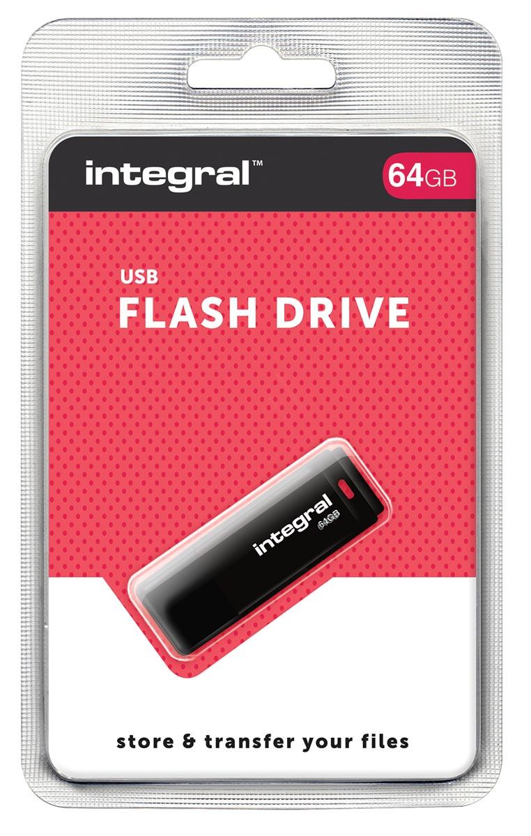 Integral USB 2.0 stick, 64 GB, zwart