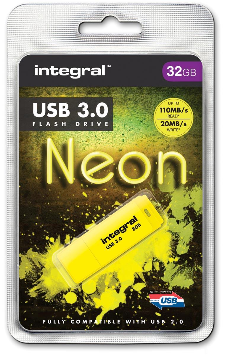 Integral Neon USB 3.0 stick, 32 GB, geel