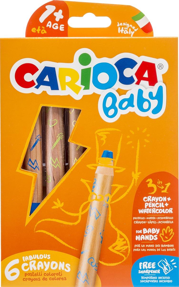 Carioca kleurpotlood Baby 3-in-1, geassorteerde kleuren, 6 stuks in een kartonnen etui