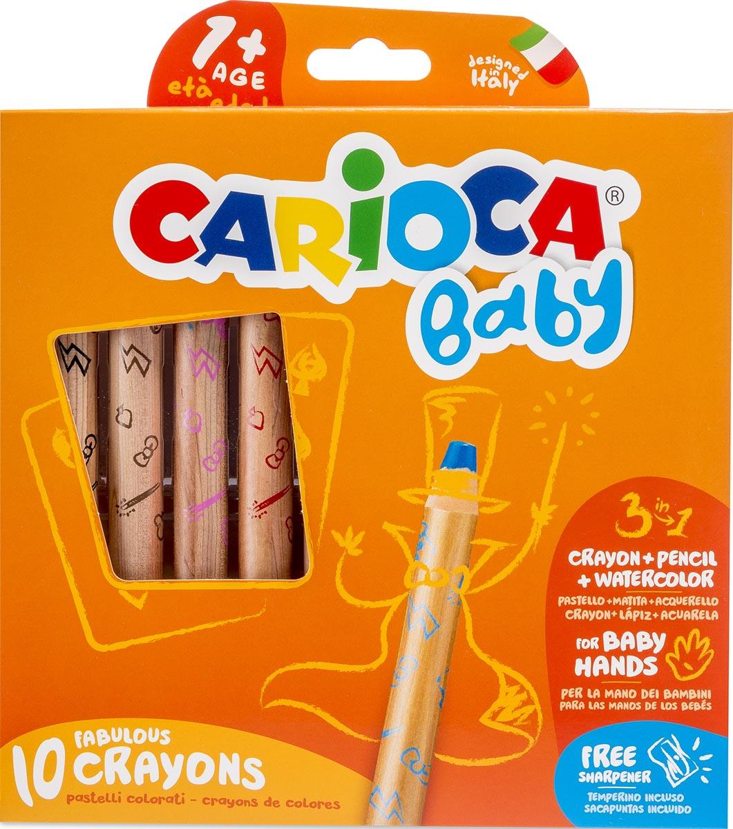 Carioca kleurpotlood Baby 3-in-1, geassorteerde kleuren, 10 stuks in een kartonnen etui