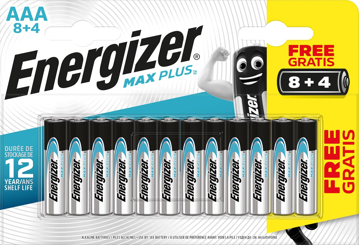 Energizer batterijen Max plus AAA, blister van 8+4