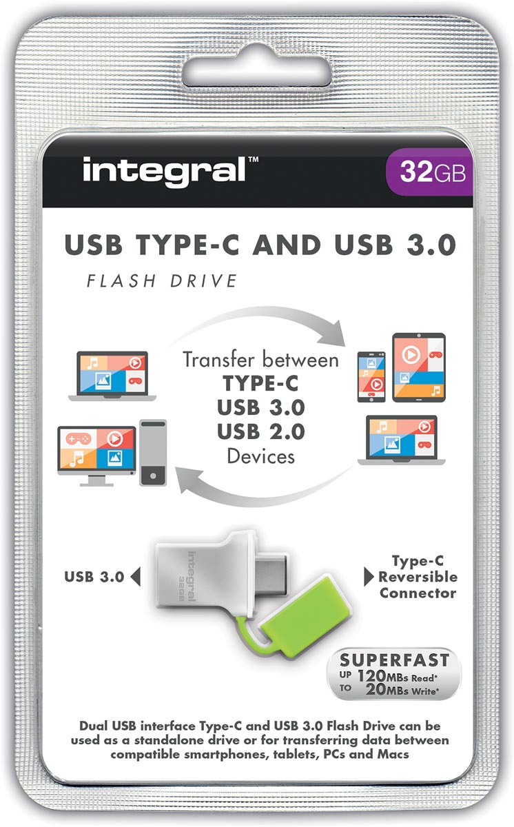 Integral 32GB Fusion Type-C USB 3.0 Flash Drive
