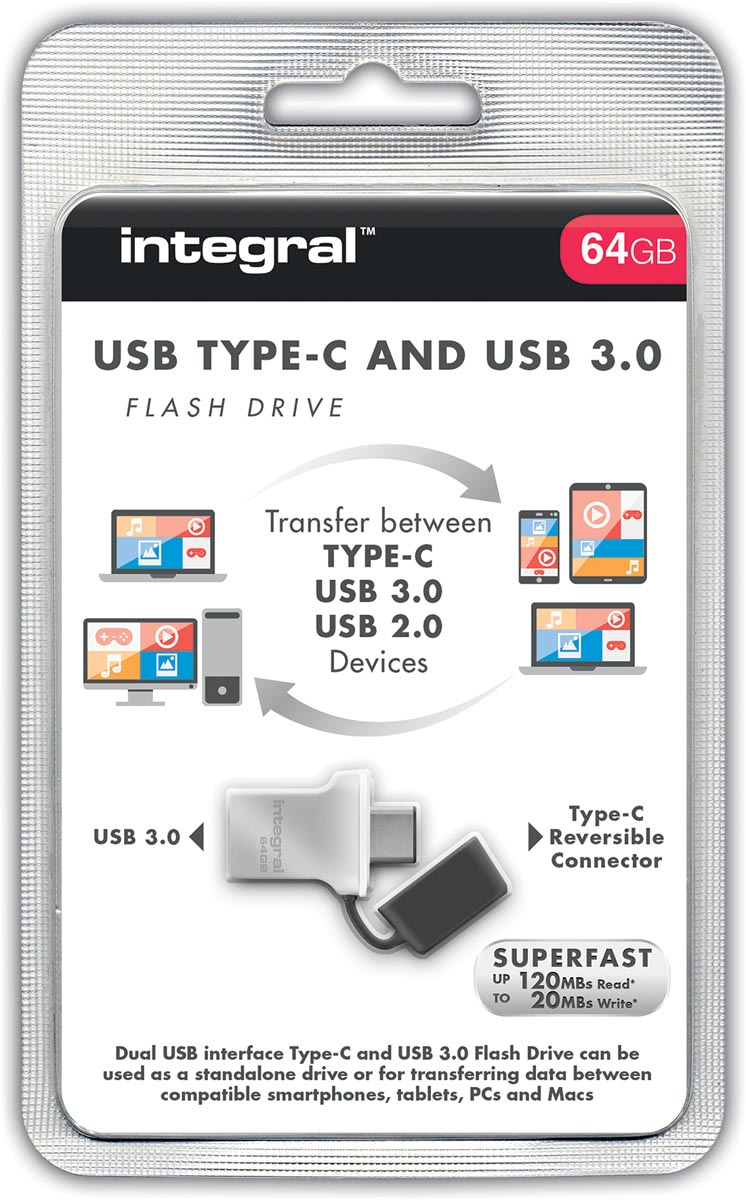 Integral 64GB Fusion Type-C USB 3.0 Flash Drive