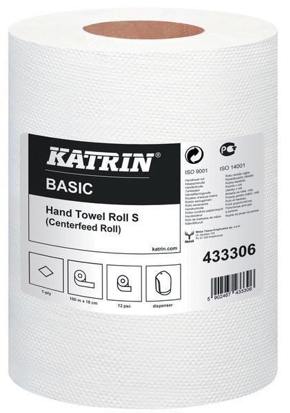 Katrin handdoeken voor dispenser op rol, 1-laags, systeem S, 100 m, pak van 12 rollen