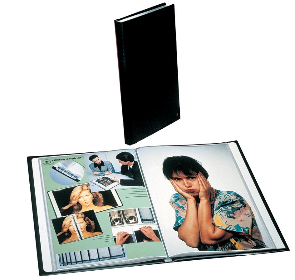 Rillstab showalbum A4 50 tassen, zwart