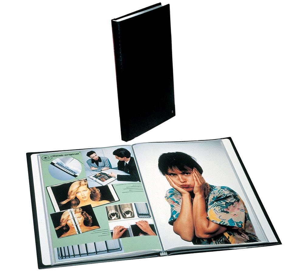 Rillstab showalbum A4 80 tassen, zwart