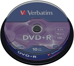 Verbatim DVD recordable DVD+R, spindel van 10 stuks